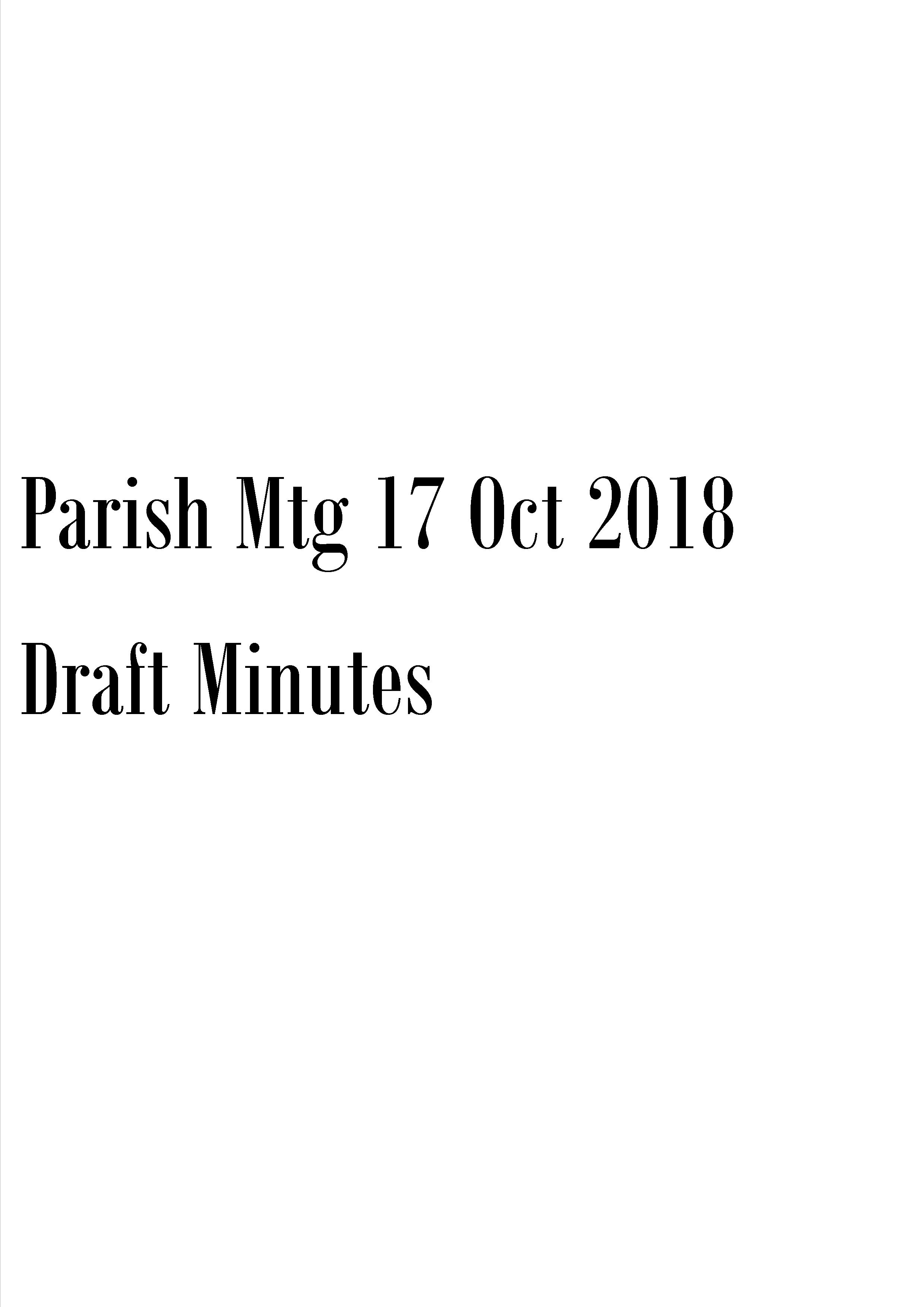 Draft minutes of meeting held on 17 October 2018