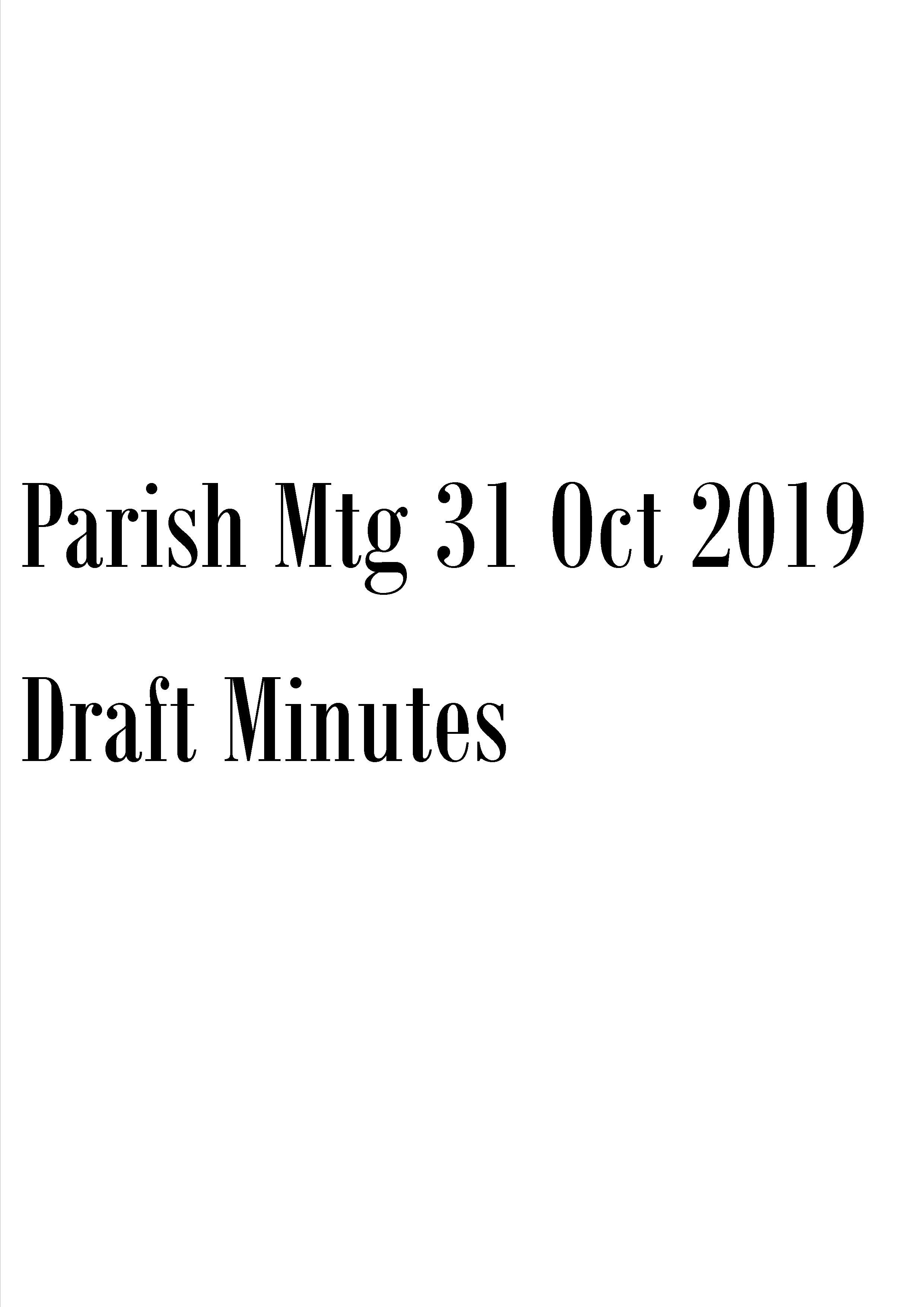 Draft Minutes Oct 2019