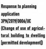 Planning application 3PN/2019/0006/UC (Change of use of agricultural building to dwelling [permitted development])